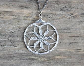 Small Delicate Crochet Lace Pendant in Silver