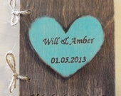 Personalized Rustic Wood Journal or Advice Book for your Wedding - with Personalized  Painted Heart
