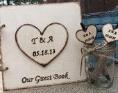 Rustic Wedding Guest Book / Pen Set with a cute Mason Jar Holder