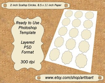 Digital TEMPLATE COLLAGE  2 inch Scallop Circles PSD format Add Your images diy 349 scrapbooking