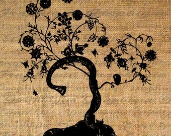 Iron On Transfer Fabric Transfer Burlap Digital Graphic Art Tree Instant Download Digital Image Download Pillows Tote Tea Towels No. 4502