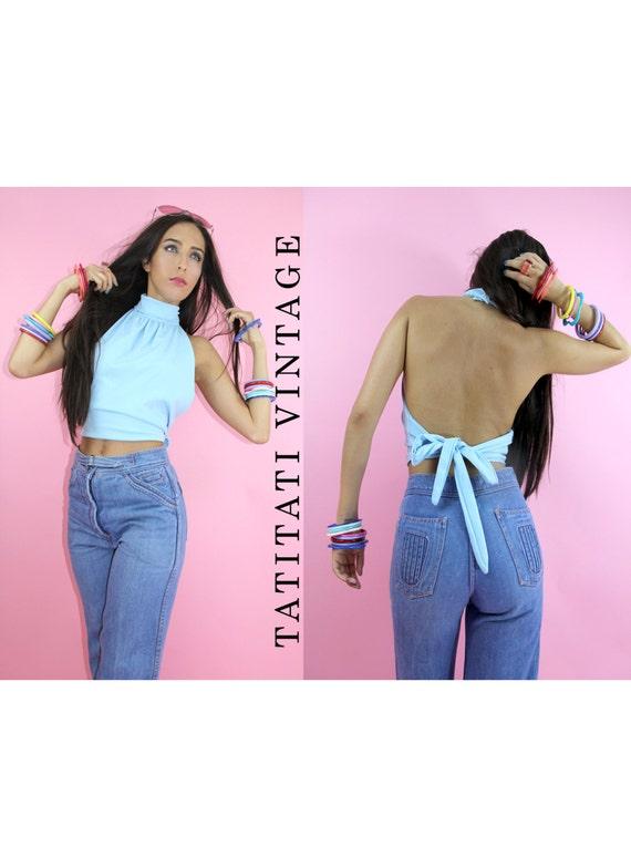 Vintage 70s CROPPED  Halter Top TIE BACK Baby Blue  // Vintage Clothes by TatiTati Vintage on Etsy