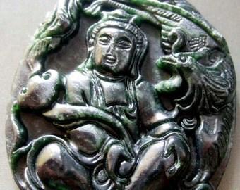 Natural Stone Tibetan Mercy Kwan-Yin Phoenix Amulet Pendant 48mm x 42mm  TH111
