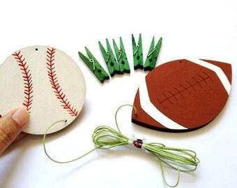 Children's artwork display hanger,baseball and football art hanger brown and white sport wall art for boys