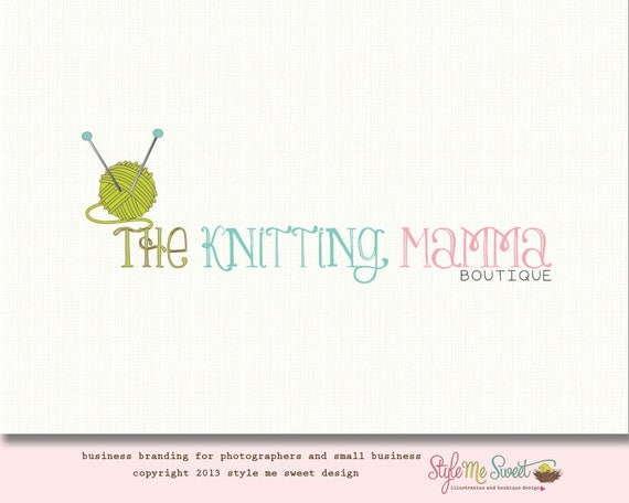 Premade Knitting Logo Design Hand Drawn Small Business Never Resold OOAK