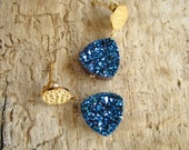 Druzy Earrings Blue Drusy Quartz 24K Gold Vermeil