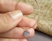 Druzy Hoop Earrings Tiny Titanium Druzy Quartz 14K Gold Fill
