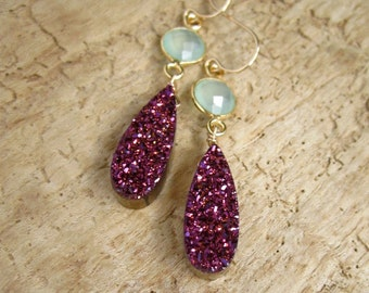 Plum Druzy Earrings Drusy Quartz Sea Green Chalcedony 24K Gold Vermeil Bezel Set