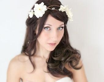 Flower Crown, Ivory, Delphinium Wedding Tiara, Bridal Hair Wreath, head wreath, fairy, woodland