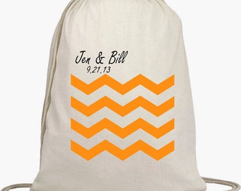 Wedding Welcome Backpacks - Drawstring Bags - Favors - Beach Bags - Natural Cotton Bag - Personalize NO EXTRA -Chevron