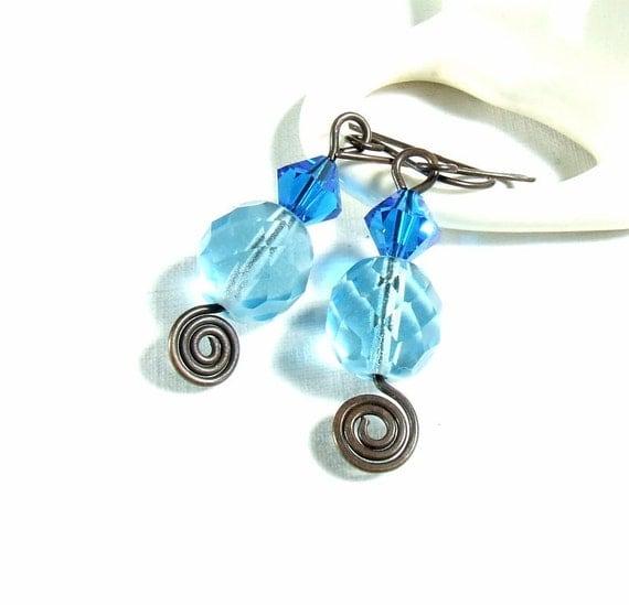 Copper blue dangle earrings Swarovski crystal handmade rustic antiqued jewelry