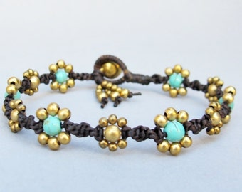 Daisy Flower Line with Turquoise and Brass Bead Bracelet  B314