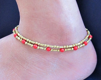 Double Strand Ankle Bracelet with Fancy Brass Bead and  Red Coral Bead