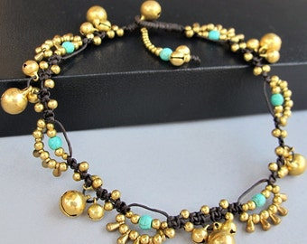 Bohemian Little Brass Water drop Turquoise Chic Anklet