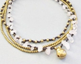 Multi Strand  Rose Quartz and Single Brass Bell Anklet