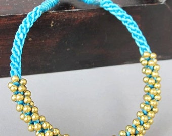 All Brass Bead Woven with Blue  Wax  Cord Bracelet