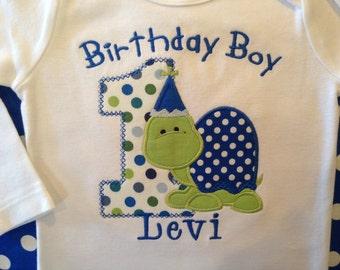 Birthday Boy Turtle First Birthday Shirt or bodysuit--Turtle Shirt--Turtle Party--Baby Boy Birthday Shirt