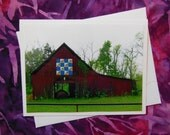 Barn Quilt -Grandmother's Fan - Painted on a Barn -  Card - Blank Inside