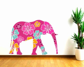 Elephant Wall Decals, Kids Wall Decals, Floral Elephant Sticker,Girls Bedroom Decor,Nursery Wall Decal, Safari Animal Decal, Pink Elephant
