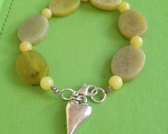 Green Brazilian Stone and Heart Bracelet