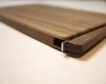 wood business card holder. slim. walnut.