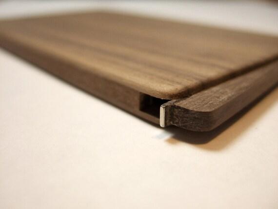 wood business card holder slim walnut