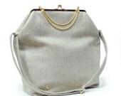Big Fold Clutch Bag - Beige - Gold - woman bag, removable strap, Duchess Case collection