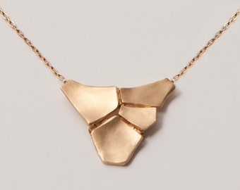 Parched Earth Pendant - 14K Gold Pendant, 14K Gold Necklace