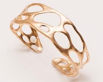 Bio Bracelet No.2 - 14K Gold Cuff , Organic Gold Bracer, AA