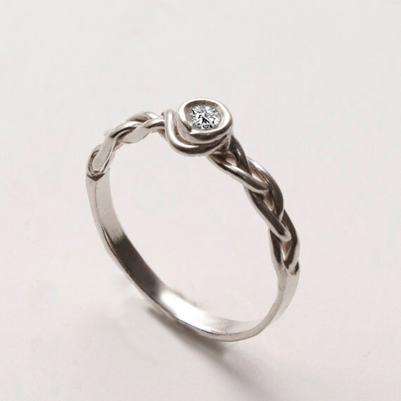 braided engagement ring 14k white gold and by