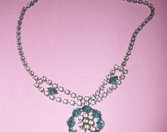 Vintage Blue & Clear Rhinestone Necklace #M54
