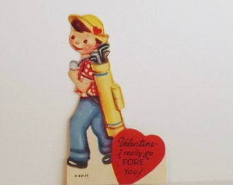 Vintage Valentine card die cut little boy golfer with bag of golf clubs