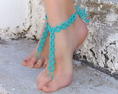 Crochet  Turquoise  Barefoot Sandals, Nude shoes, Foot jewelry, Wedding, Sexy, Yoga, Anklet , Bellydance, Steampunk, Beach Pool