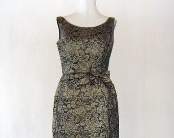 1950s Golden Floral Wiggle Dress