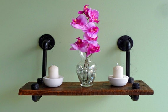 Industrial Pipe and Reclaimed Wood Floating Shelf No. 2