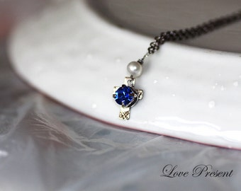 Cute Elegant Chic Fresh Water Pearl Mini Cross Necklace - made with Swarovski Crystal - Choose your color