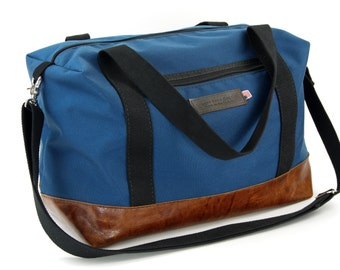Tuscan Travel Duffel in Slate Blue and Italian Caramel Leather