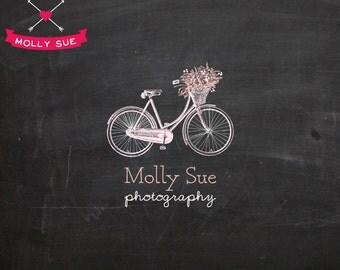 Vintage Logo Design, Photography Logo, Business Card Branding Design, Bike, Bicycle, Victorian, Wedding, Flower Basket, Floral, Florist