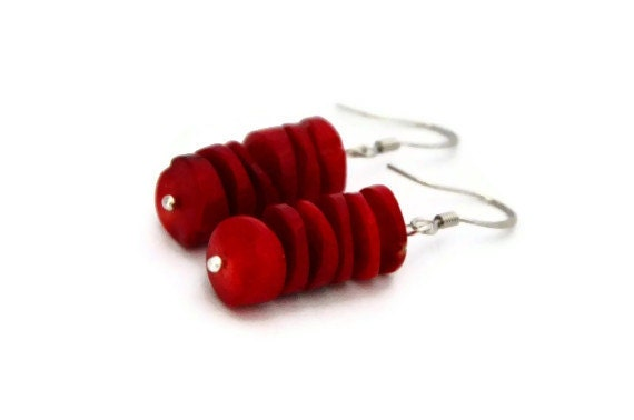 Bright Red earrings stacked coral chips valentine gifts for her
