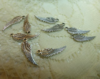 Angel Wing Charms Tiny Angel Wing Pendants Charms Dangles 4 x 17mm- 3 choices of color/ Quantity 10