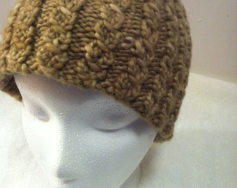 Wool Hat child size Hand Knit Twisted Stitch made in Colorado