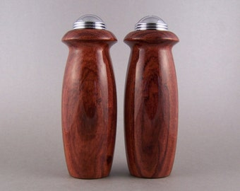 Salt and Pepper Shakers - Handmade Granadillo with chrome caps