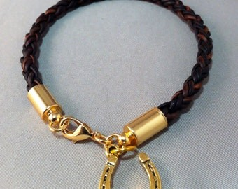 Dark Brown Braided Round Leather Cord Bracelet with Gold Horseshoe Charm, Equestrian Bracelet