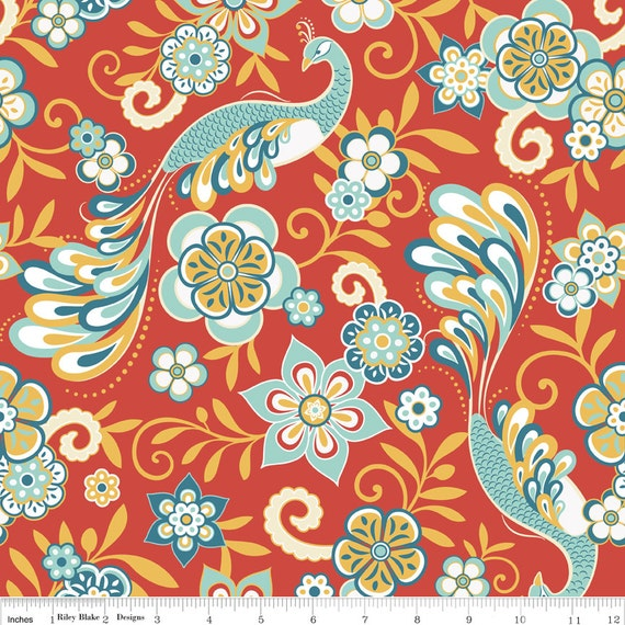 Samantha Walker for Riley Blake Designs - SERENATA - Main in Red - Cotton Fabric - 1 Yard