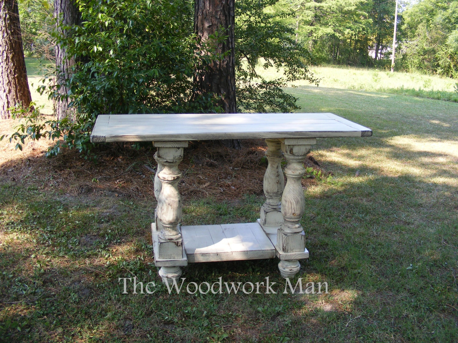 solid pine kitchen island table distressed ivory finish