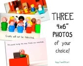 "Funny Photos, Set of THREE 4x6"" photographs, custom text"