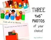 "Funny Photos, Set of THREE 4x6"" photographs, custom text"