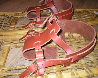 pair leather howe SNOWSHOE snow shoe BINDINGS straps harness USA made