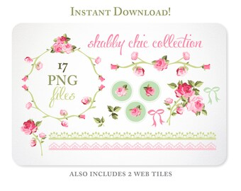 Shabby Chic Roses Digital Clipart for Scrapbooking & Branding  - Instant Download - 1-1