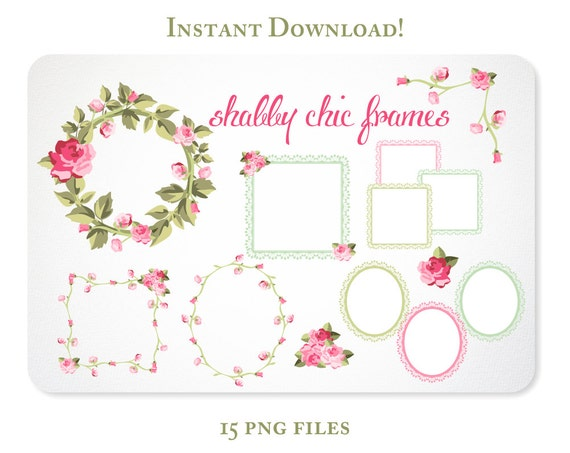 Roses and Lace Digital Clipart Frames for Scrapbooking & Branding  - Instant Download
